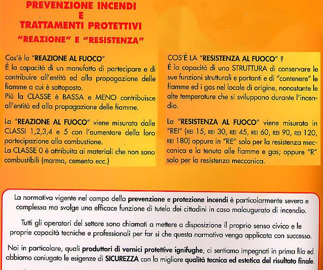 Vernici ignifughe elleci di lombardo francesco scalea for Arredamenti scalea